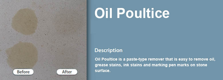 Oil Poultice is a paste-type remover that is easy to remove oil, grease stains, ink stains and marking pen marks on stone surface.