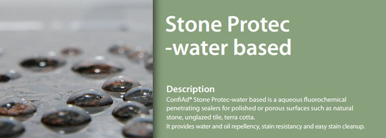 ConfiAd® Stone Protec water based is a aqueous fluorochemical penetrating sealers for polished or porous surfaces such as natural stone, unglazed tile, terra cotta. It provides water and oil repellency, stain resistancy and easy stain cleanup.
