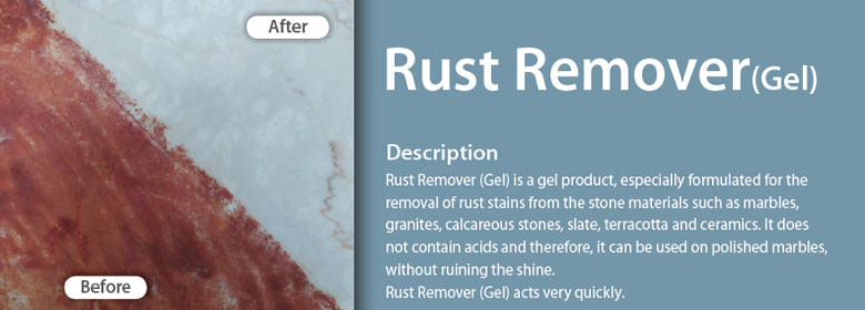 Rust Remover (Gel) is a gel product, especially formulated for the removal of rust stains from the stone materials such as marbles, granites, calcareous stones, slate, terracotta and ceramics. It does not contain acids and therefore, it can be used on polished marbles, without ruining the shine. Rust Remover (Gel) acts very quickly