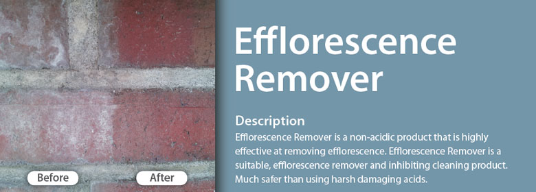 Efflorescence Remover is a non-acidic product that is highly effective at removing efflorescence. Efflorescence Remover is a suitable, efflorescence remover and inhibiting cleaning product. Before After Much safer than using harsh damaging acids